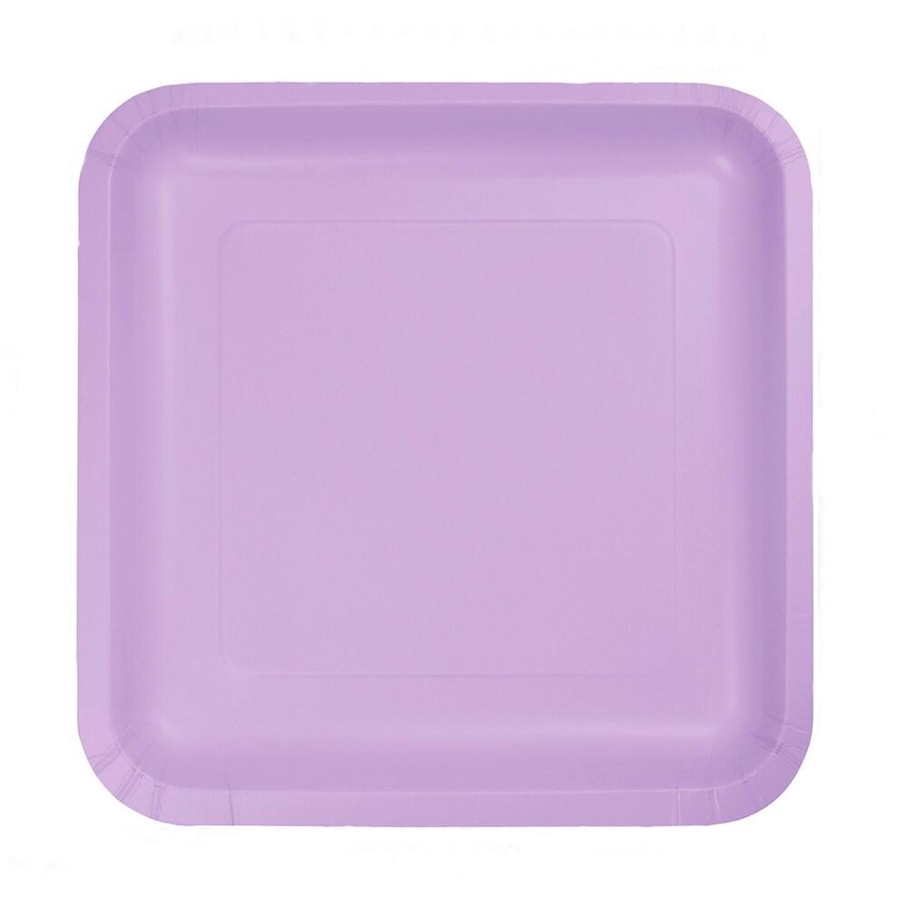 purple paper plates Purple solid color party supplies purple paper cups (8) 43665 $323 $161 spread across plates, napkins, cups.