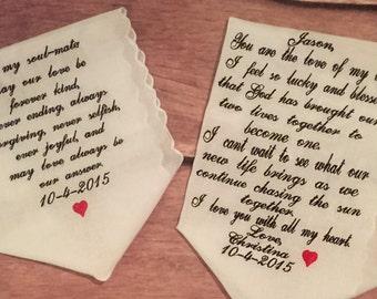 Wedding handkerchief- your vows on a set of white scallopped handkerchiefs 100% cotton