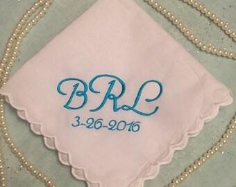 Monogram wedding handkerchief~ Something Blue~ wedding keepsake