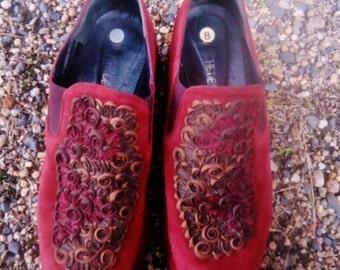 """Vintage Leather shoes """"""""Sanche de la rosa"""",vitage women shoes,Spanich shoes."""