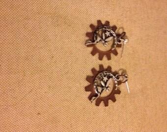 Steampunk Fairy on Moon Earrings