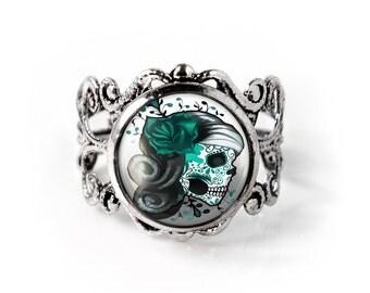 Green Skull Ring Etsy