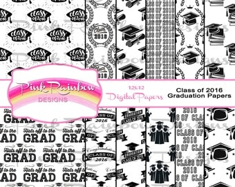 Class of 2016 Graduation Digital Scrapbook Papers~Graduate~Diploma~Commencement~Congrats~Cap and Gown~Black and White~Patterns