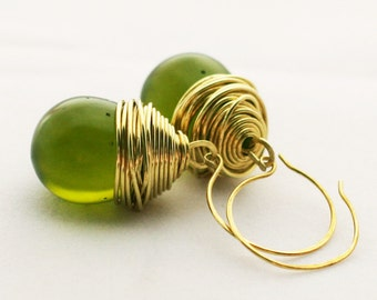 Dangle and Drop Earrings in Olive Green Resin. Bold and Chunky, Lightweight Earrings.