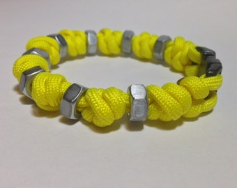 Yellow Snake Knot Stim Bracelet with Steel Hex Nuts