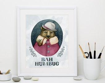Wall Art Printable, Bear Watercolor, Christmas print, home decor, nursery wall art, gift for her, instant download, Bah Humbug, Winter