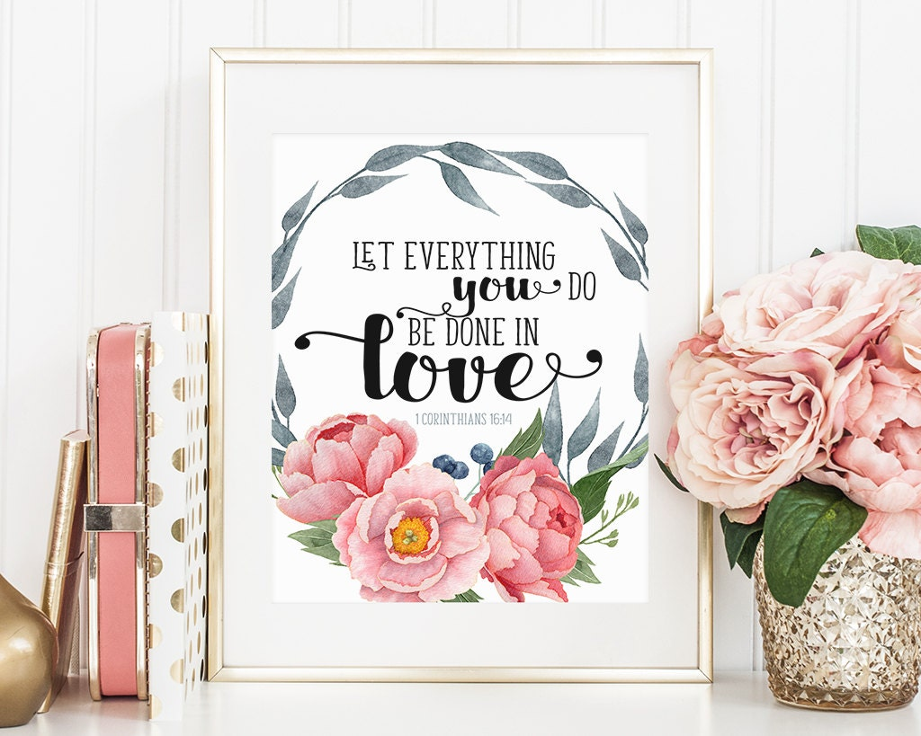 Wall Decor With Bible Verses : Wall art scripture print printable bible verse quote