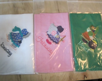 Embroidered 14x14 Monthly Bonet Handkerchief (Your Choice) or (ALL)