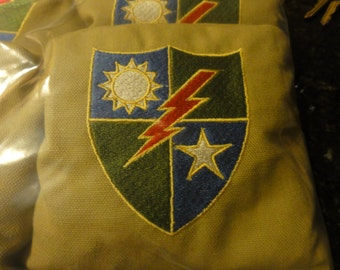 Embroidered 75th Ranger Regiment Corn Hole Bags ACA/ACO Specs (Set of 4) (your choice of Colors & design)
