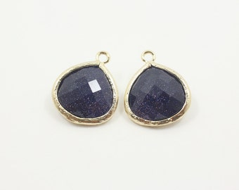 G000616P/Blue Alluvial Gold/Gold plated over brass/Pear shape framed faceted glass pendant/16mm x 18.5mm/2pcs