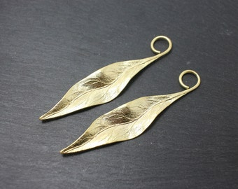 P0171/Anti-Tarnished Matte Gold Plating Over Brass/Long Leaf Pendant Connector/17x 78mm/2pcs
