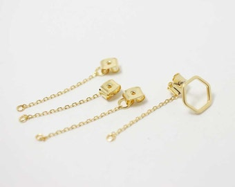 B0010/Anti-tarnished Gold Plating Over Brass/Chain Earring Back Clutch/5x34mm/10pcs