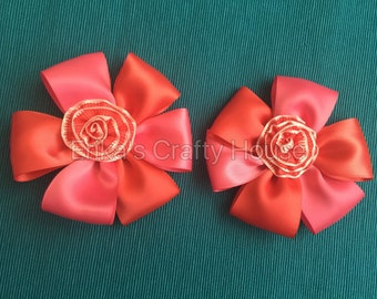 Flower hair bows,hot pink and guava color flower hair bow, pair.