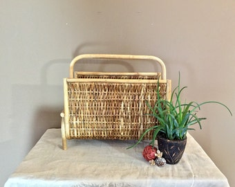 Wicker and Wood Magazine Rack / Mid Century Magazine Rack