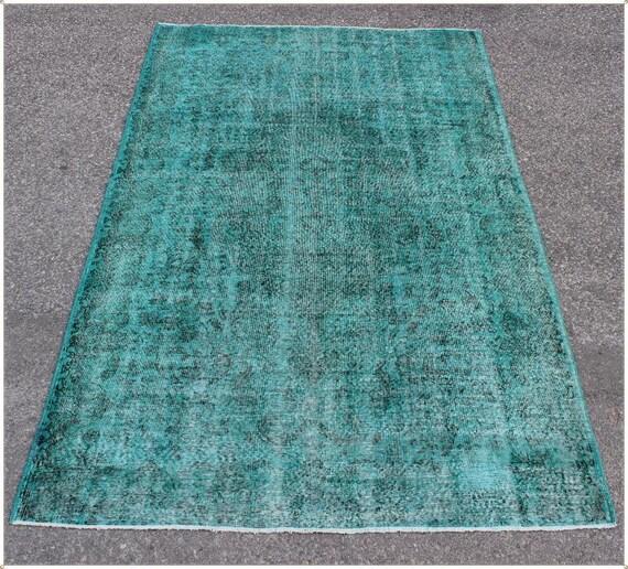 9x7 turquoise rug overdyed vintage rug turkish by TURQUOISEKILIM