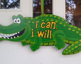 Crocodile door hang with Words to live by