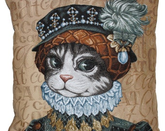 Tapestry Cushion Funny Cat 18 '' x 18 '' (45x45cm)