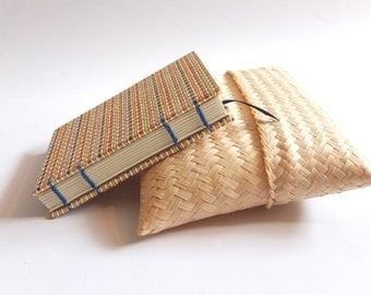 Reed Cover Coptic Stitch Journal in Bamboo Case | Customizable
