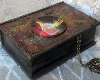 "Wooden box - book: ""Spirit"" - handmade product, gift box, jewelry box"