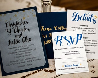 Starry Night, Under the Stars Two Layered Wedding Invitation