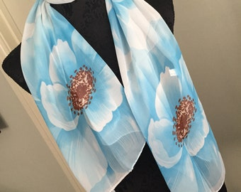 Scarf shawl wrap sarong cover up Fichu with blue turquoise flowers white black multi birthday wedding party