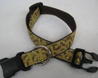 Fall Autumn Acorn Dog Collar - MULTIPLE SIZES AVAILABLE