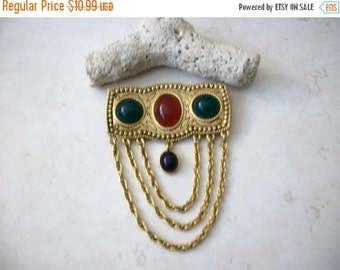 ON SALE Vintage 1960s Over Sized Gold Tone Bejeweled Pin 81216