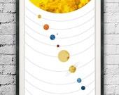 Solar System Print, Space Art, Abstract Solar System, Planet Print, Scandinavian Design, Nordic Style Solar System, Planet Poster, Art Print