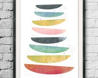 Abstract Wall Art, Watercolor Abstract, Art Printables, Modern Design, Scandinavian Style, Geometric Art, Watercolor Print, Geometric Print
