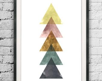 Triangle Printable, Mid Century Modern Art, Triangels Abstract, Watercolor Print, Nordic Art, Modern Printables, Geometric Decor, Wall Print