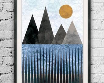 Mountain Art, Geometric Printables, Triangle Print, Modern Design, Nordic Minimal Art, Scandinavian Style, Posters for Sale, Art Printables