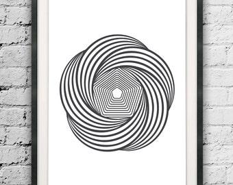 Optical Illusion, Lines Illusion Print, Scandinavian Art, Line Print, Lines Poster, Wall Decor, Op Art, Abstract Lines, Minimalist Line Art