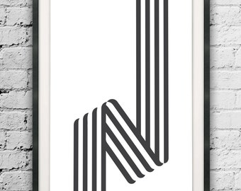 Abstract Line Art, Black and White Lines, Scandinavian Art, Lines Print, Nordic Design, Wall Decor, Op Art, Optical Illusion, Minimal Lines