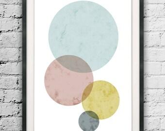Circle Print, Scandinavian Art, Modern Art Circle, Abstract Design, Nordic Style, Circle Wall Hanging, Geometric Print, Minimalist Printable