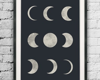 Moon Print, Moon Phases, Space Art, Moon Phases Wall Art, Black Background Wall Print, Large Print Size, Moon Art, Minimalist Art Print