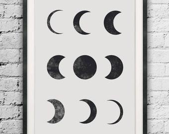 Moon Art, Moon Phases Modern Art, Moon Prints, Large Print, Moon Wall Decor, Modern Moon Print, Moon Phases Print, Minimalist Moon Print