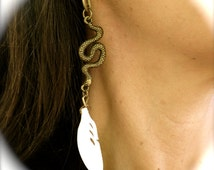 Serpent Feather Drop Earrings, Bronze & carved Bone, Wildly Feminine wear, Boho chic Jewelry