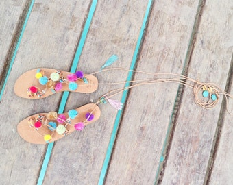 "Genuine Tie Up Gladiator leather sandals  ""Misty"" sandals for Kids"
