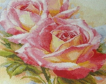 Pink dreams - Cross Stitch Kit by Alisa - Roses cross stitch - Flowers cross stitch - Valentine's Day gift, Gift for cross stitch lovers