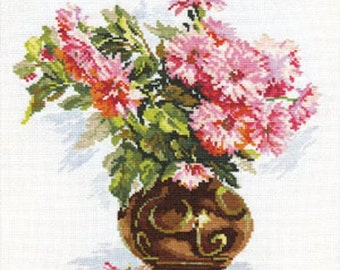 Cross Stitch Kit by Alisa - Blooming garden. Chrysanthemums - Flowers cross stitch - Gift idea