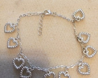 heart charms anklet