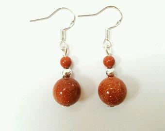 Goldstone earrings, natural stone earrings, red goldstone earrings, goldstone jewelry, natural stone jewelry, sparkly stone earrings