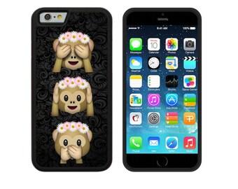 Monkey Emoji Black Silicone Case for Apple iPhone 5, 5S, 5C, 6, 6 Plus, 6S & 6S Plus, 7, 7 Plus TPU Gel