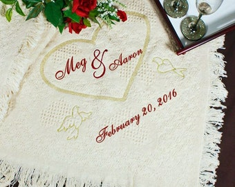 Personalized Wedding Embroidered Afghan Throw - Custom Embroidered Wedding Gift - Wedding Blanket - Perfect Wedding Gift - Wedding Keepsake