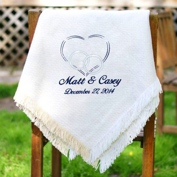 personalized wedding embroidered afghan throw custom