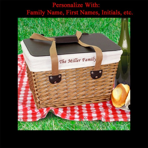 Picnic Basket Wedding Gift : Personalized picnic basket custom embroidered monogrammed