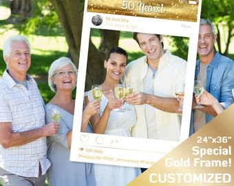 """50th birthday photo booth props, instagram frame prop, gold party decor, 50th anniversary decorations, photo booth, 24""""x36"""" PDF photobooth"""