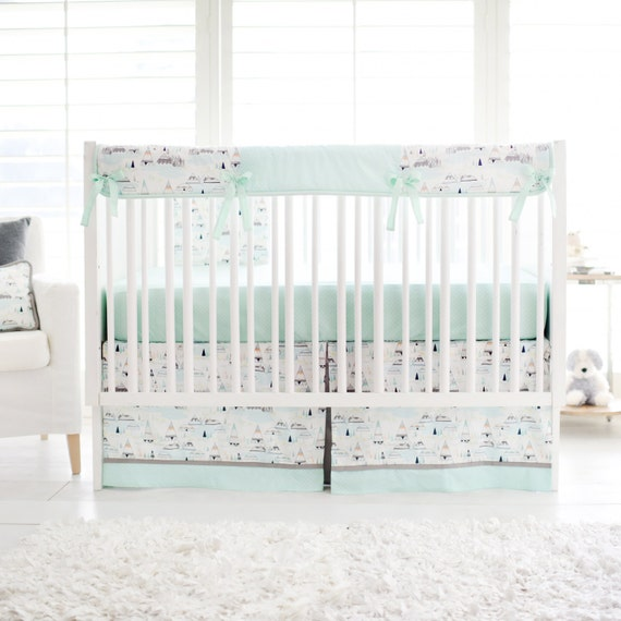 Woodland Pine Mint Green Gray Crib By ThreeWishesBeddingCo