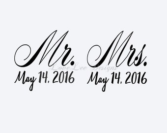 Mr & Mrs Decal with Date - Wine Glass Decal - Toasting Glass Sticker - Wedding Decal