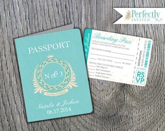 Passport Wedding Invitation, Classic Style Wedding Invitation, Beach Wedding Invitations, Wedding Invites - Design Deposit